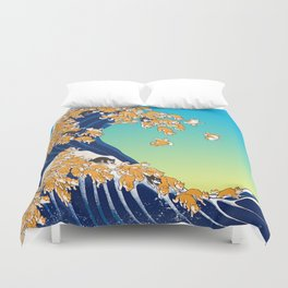 Shiba Inu in Great Wave Duvet Cover