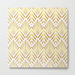 Gold art deco diamonds on white Metal Print