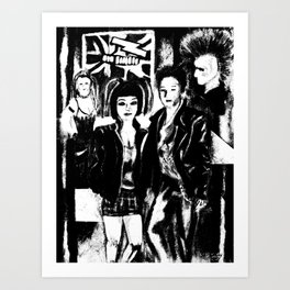 Alternative fashion and leather jacket style at the club Art Print
