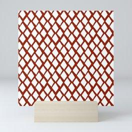 Rhombus White And Red Mini Art Print