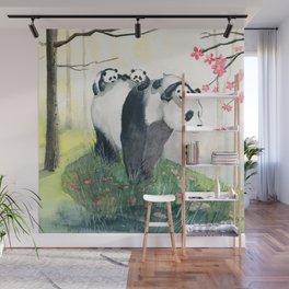 Panda family Wall Mural