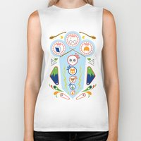 wizard Biker Tanks featuring Pinball Wizard by Ashley Hay