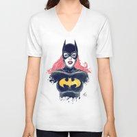 batgirl V-neck T-shirts featuring Batgirl by Alejandro Pinpon