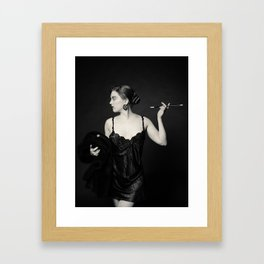"""A Noir Night Out"" - The Playful Pinup - Modern Gothic Twist on Pinup by Maxwell H. Johnson Framed Art Print"