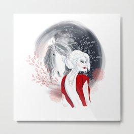 Girl and Horse Metal Print