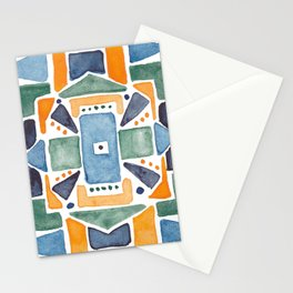 Geometric Watercolor Stationery Cards