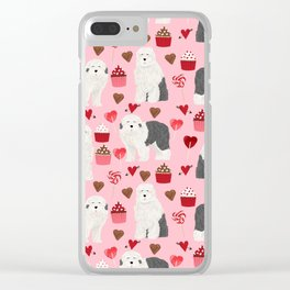 Old English Sheepdog valentines day hearts cupcakes pattern pet portrait dog art gifts love Clear iPhone Case