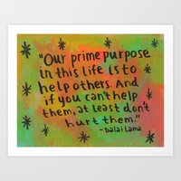 Help Others - Inspirational Quote Painting  Art Print