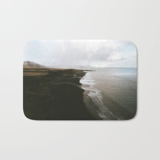 Moody black sand beach in Iceland - Landscape Photography Bath Mat