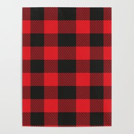 Black And Red Flannel Pattern Poster