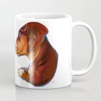 dachshund Mugs featuring Dachshund by Kendra Aldrich