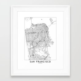 San Francisco White Map Framed Art Print