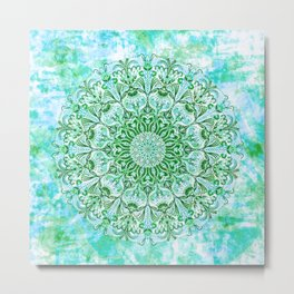 Ocean Aqua Blue Watercolor Mandala , Relaxation & Meditation Turquoise Flower Circle Pattern Metal Print