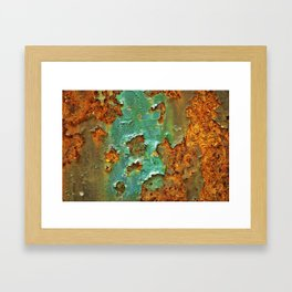 Rust and Deep Aqua Blue Abstract Framed Art Print