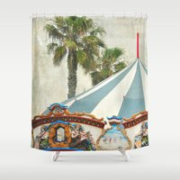 oasis Shower Curtains featuring Carnival Oasis by Lisa Argyropoulos