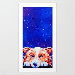 Big Dreams - Border Collie Dog Painting Art Print
