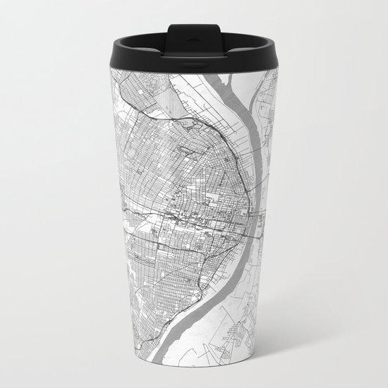 St Louis Map Line Metal Travel Mug