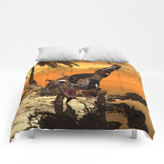 T-rex with armor Comforters