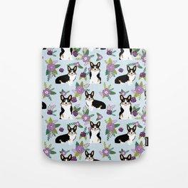 Tricolored Corgi Floral print - feminine blue purpl florals dogs, dog lover, dog mom, tri corgi cute Tote Bag