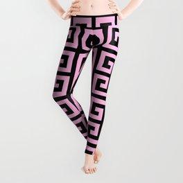 Greek Key (Black & Pink Pattern) Leggings
