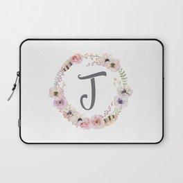 Floral Wreath - J Laptop Sleeve