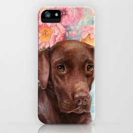 Flowers and Chocolate (chocolate lab dog watercolor portrait painting) iPhone Case