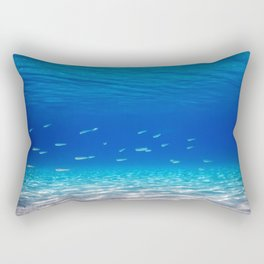 School of Fish Swimming over Sand Bottom in the Tropical Sea Rectangular Pillow