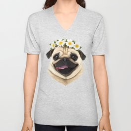 Pug with flowers Unisex V-Neck