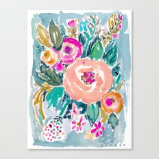 PEACH SPIN FLORAL Canvas Print