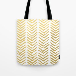 Brush painted chevron in gold Tote Bag