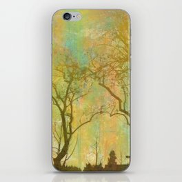 Golden Tree Silhouette, Rainbow Color Background iPhone Skin