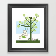 Polar bear play a swing Framed Art Print