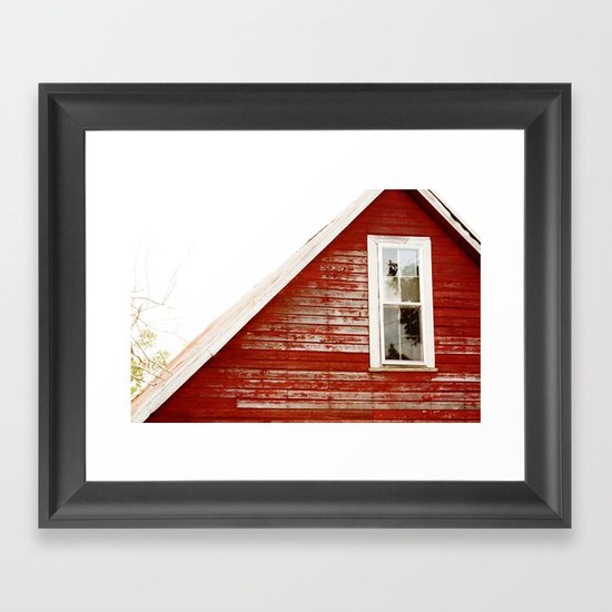 Red Barn Window Framed Art Print