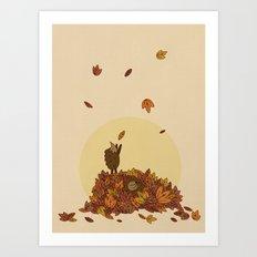Autumn Hedgehogs Art Print