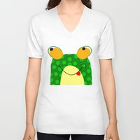 frog V-neck T-shirts featuring Frog by Jessica Slater Design & Illustration