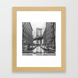 DUMBO, Brooklyn NY Black and White Framed Art Print