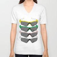 tour de france V-neck T-shirts featuring Tour de France Glasses by Pedlin