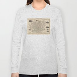 Vintage Map of Manchester England (1851) Long Sleeve T-shirt