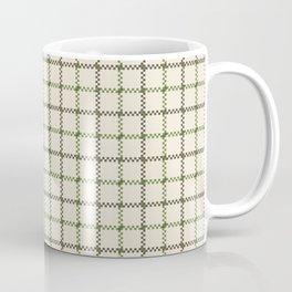 Fern Green & Sludge Grey Tattersall on Cream Background Coffee Mug