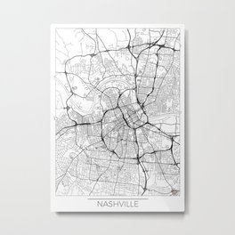 Nashville Map White Metal Print