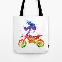Boy Motocross Trick Colorful Watercolor Art Gift Dirt Bike Tote Bag