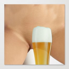 Beer and Naked Woman Canvas Print