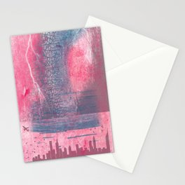 Town and the storm, pink, gray, blue Stationery Cards