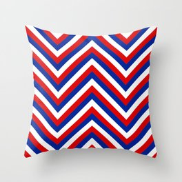 Red White and Blue French Flag Jumbo Chevron Pattern Throw Pillow