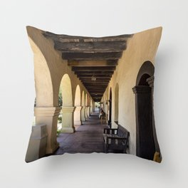 Old Mission Santa Barbara Patio Throw Pillow