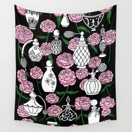 Perfume and Peonies Black and White Wall Tapestry