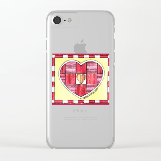Pinstripe Heart Clear iPhone Case