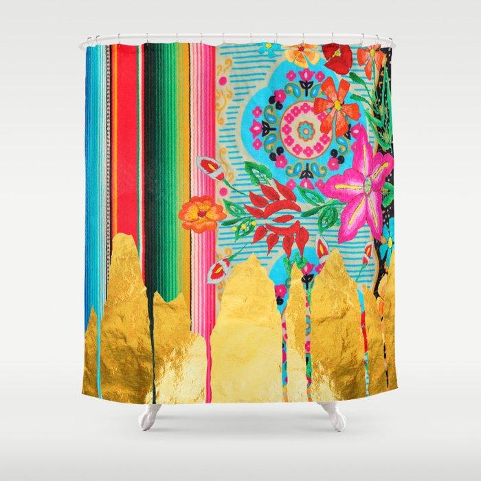 Gold Dipped Boho Serape Dream Shower Curtain