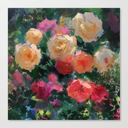 Yellow & Pink Roses Canvas Print