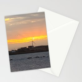 The windmill in the sunrise is beautiful view, Jeju island in Korea Stationery Cards